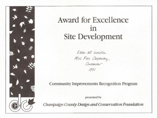 Award for Excellence in Site Development, 1991
