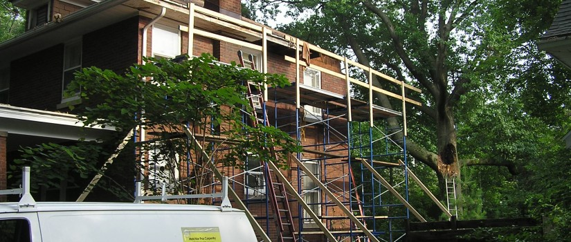 In progress: scaffolding and security rails