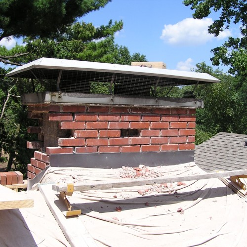 Before: tuck pointing & rebuilding a chimney